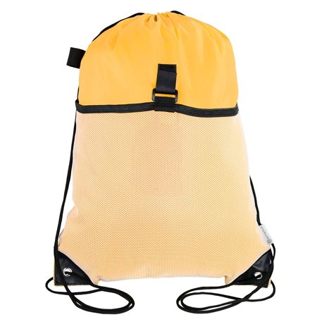 - Mato & Hash Drawstring Cinch Bag Backpack With Mesh Pocket Polyester Tote Sack - Athletic Gold CA2600