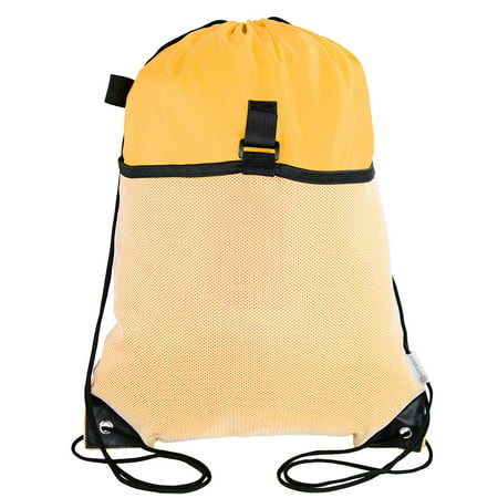 Mato & Hash Drawstring Cinch Bag Backpack With Mesh Pocket Polyester Tote Sack - Athletic Gold CA2600 (Mesh Pocket Drawstring Backpack)