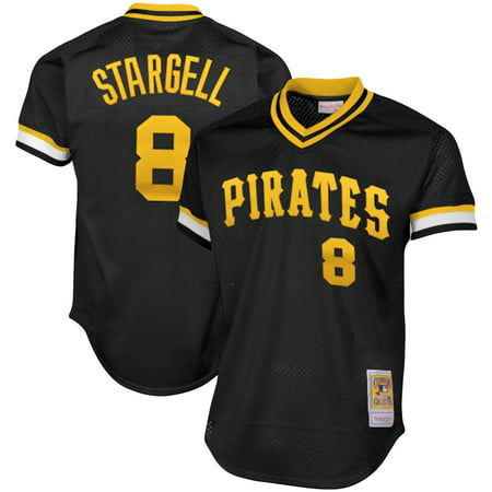 Willie Stargell Pittsburgh Pirates Mitchell & Ness Cooperstown Collection Big & Tall Mesh Batting Practice Jersey - Black