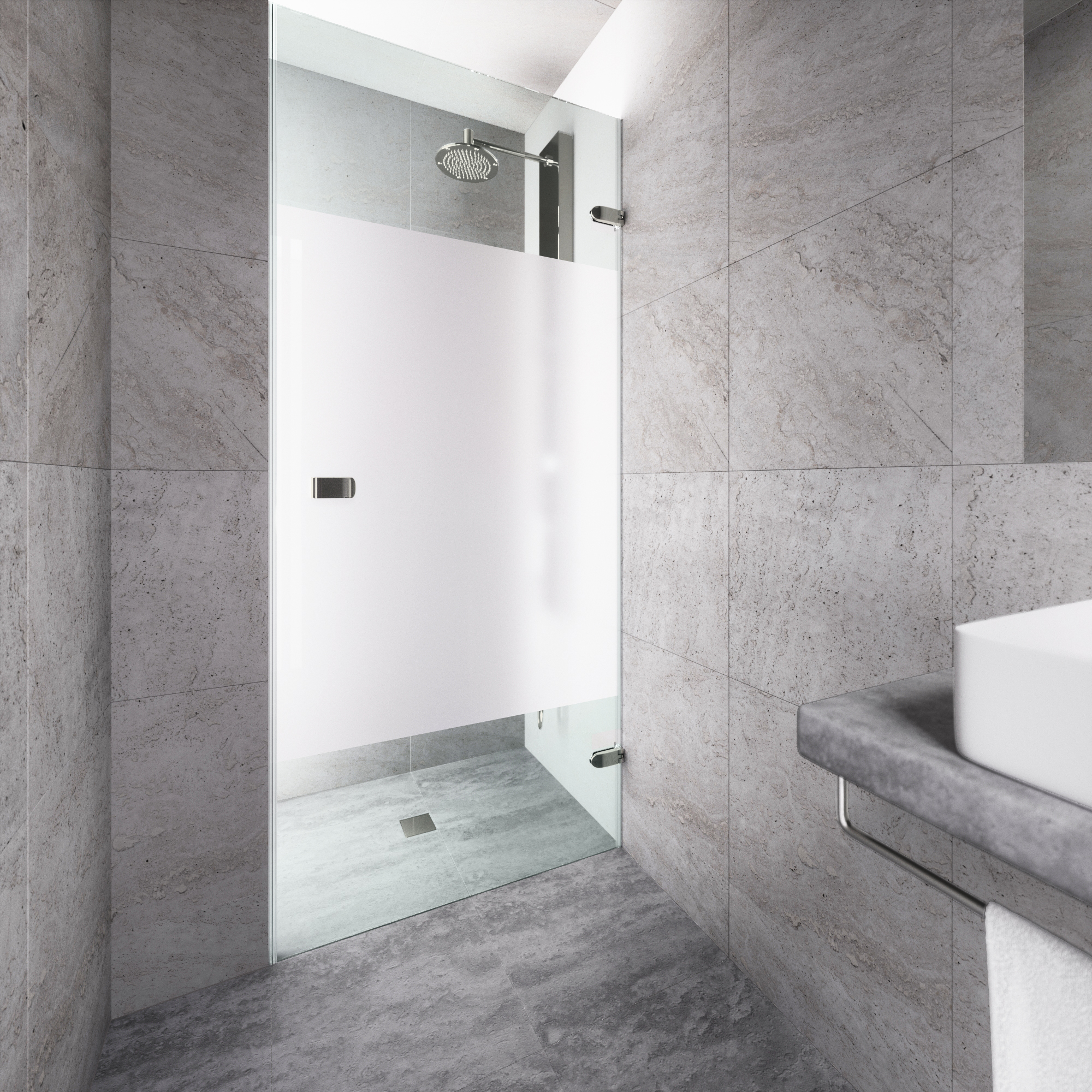"VIGO Tempo 28"" Adjustable Frameless Shower Door with Privacy Panel and Stainless Steel Hardware"