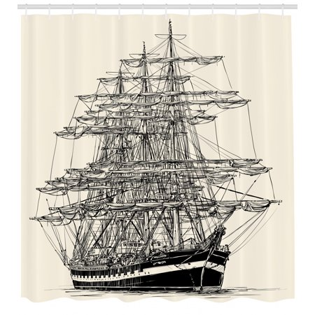 Pirate Ship Shower Curtain Sailing Boat Detailed Illustration Nautical Maritime Theme Vintage Style Art