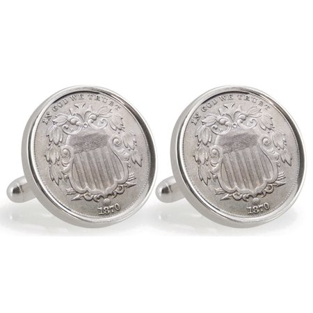 Turquoise Sterling Silver Cufflinks - Ohio State University 1870 Sterling Silver Nickel Coin Cuff Links