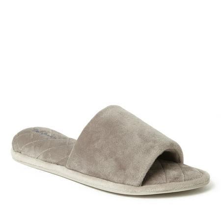 Dearfoams Women's Velour Side Gore Slide Slippers w Memory Foam