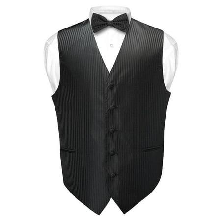 Pinstripe Suit Striped Tie (Men's Dress Vest & BOWTie BLACK Vertical Striped Design Bow Tie Set for Suit Tux)