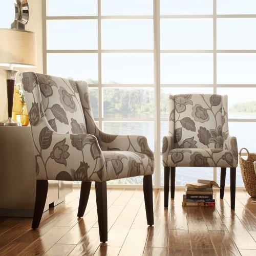 Homelegance Classic Gray Flower with Leaves Print Accent Chair with Sloping Track Arm