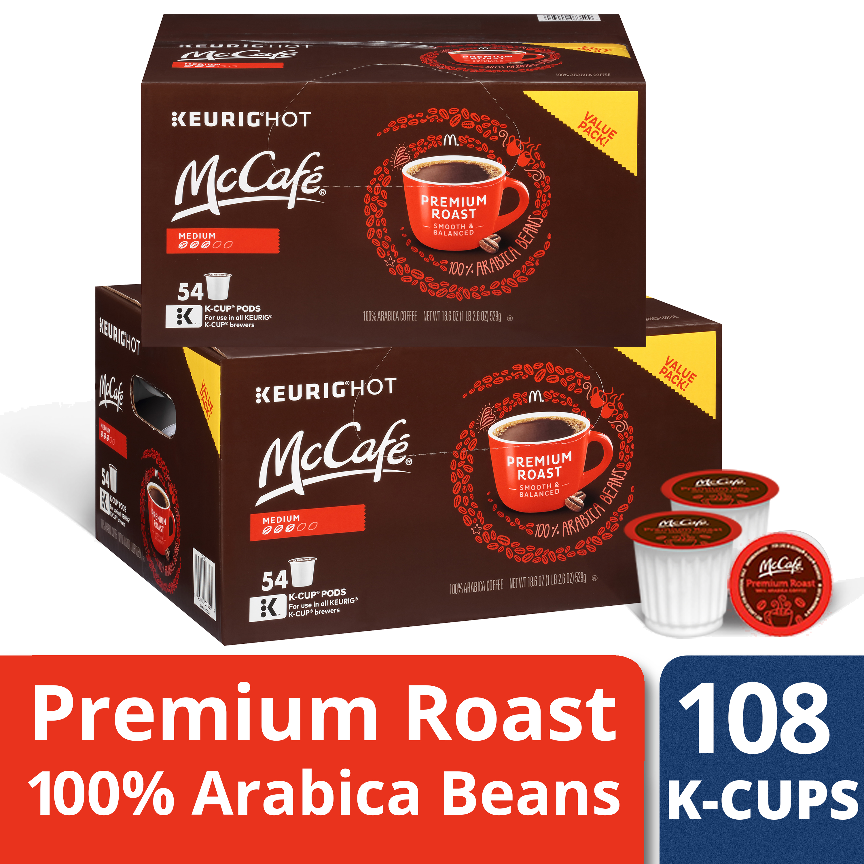 McCafe Premium K-Cups, Medium Roast, $.43/Each, 108 Count (2 Packs of 54)