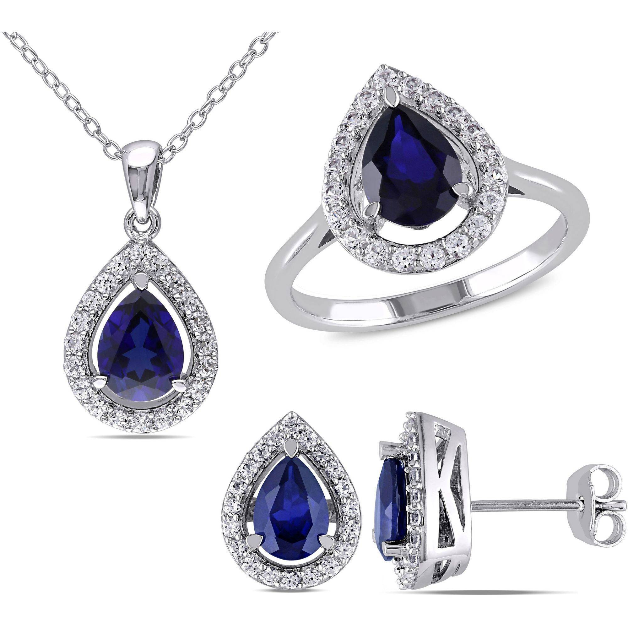 Tangelo 7-1 10 Carat T.G.W. Created Blue Sapphire and Created White Sapphire Sterling Silver Teardrop Halo Pendant, Stud... by Tangelo
