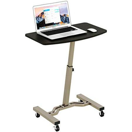 SHW Height Adjustable Mobile Laptop Stand Desk Rolling Cart, Height Adjustable from 28'' to 33'' SHW Height Adjustable Mobile Laptop Stand Desk Rolling Cart