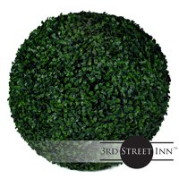 "3rd Street Inn Boxwood Topiary Ball - 19"" Artificial Topiary Plant - Wedding Decor - Indoor/Outdoor Artificial Plant Ball - Topiary Tree Substitute (1, Boxwood)"