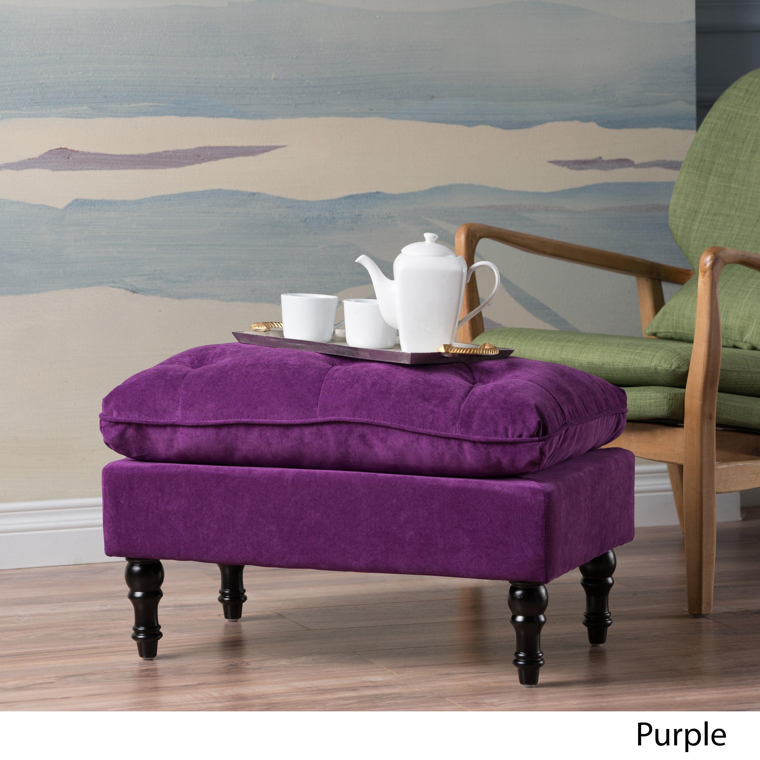 Terry purple velvet tufted ottoman