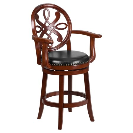 Flash Furniture 26'' High Cherry Wood Counter Height Stool with Arms and Black Leather Swivel Seat Black,