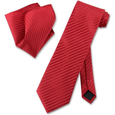 Vesuvio Napoli RED Striped NeckTie & Handkerchief Matching Men's Neck Tie Set