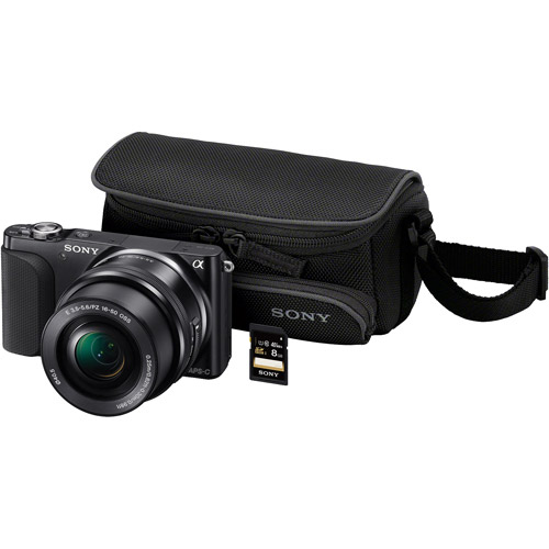 Sony Black NEX3N/BMBDL Compact System Digital Camera Bundle with 16.1 Megapixels, 8GB SD Card, Case, and 16-50mm Lens Included