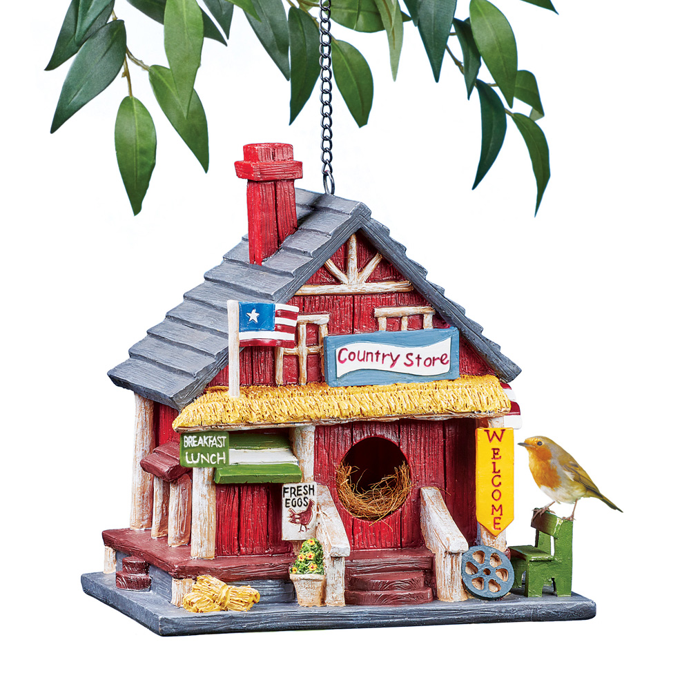 Patriotic Country Store Hanging Birdhouse with Hook and Chain for Easy Hanging - Outdoor Decorative Accent for Bird Lovers