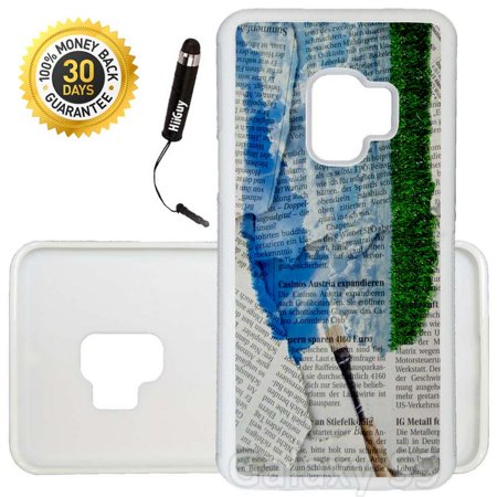 Custom Galaxy S9 Case (Sky Art Painted On Newspaper) Edge-to-Edge Rubber White Cover Ultra Slim | Lightweight | Includes Stylus Pen by (Best Paint For Newspaper)