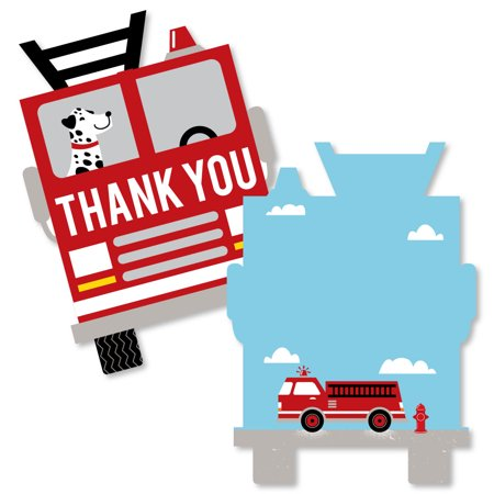 Fired Up Fire Truck - Shaped Thank You Cards - Firefighter Firetruck Baby Shower or Birthday Party Thank You Note - Birthday Thank You Notes
