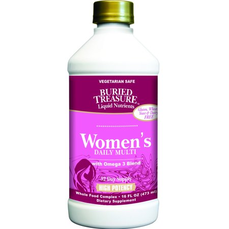 Allergy Multivitamin - Buried Treasure Women's Daily with Omega 3 Multivitamin Liquid, 16 Oz