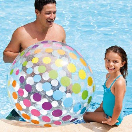 Intex Jumbo Inflatable Glossy Big Polka-Dot Colorful Giant Beach Ball | 59065EP - Large Inflatable Beach Ball