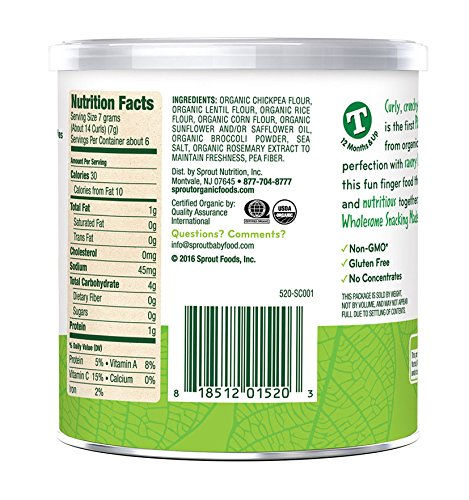 Sprout Organic Baby Food, Sprout Curlz Organic Toddler Snacks, Broccoli, 1.48 Ounce Canister (Pack of 10)