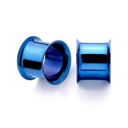 Body Candy 2Pc Blue Anodized Steel 11mm Double Flare Flesh Tunnel Plug Ear Plug Gauges Set of 2 7/16""