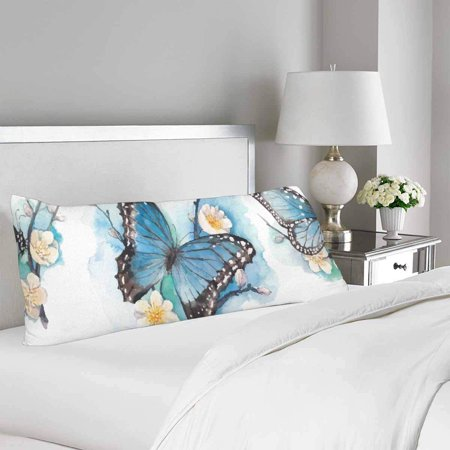 GCKG Watercolor Blue Butterfly Blossom Plum Tree Branch Body Pillow Covers Case Protector 20x60 inches - image 1 de 2