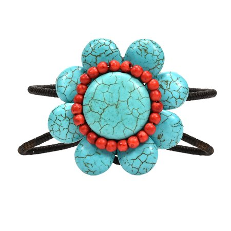 Beautiful Blue Turquoise & Red Synthetic Coral  Flower Statement Cuff Bracelet