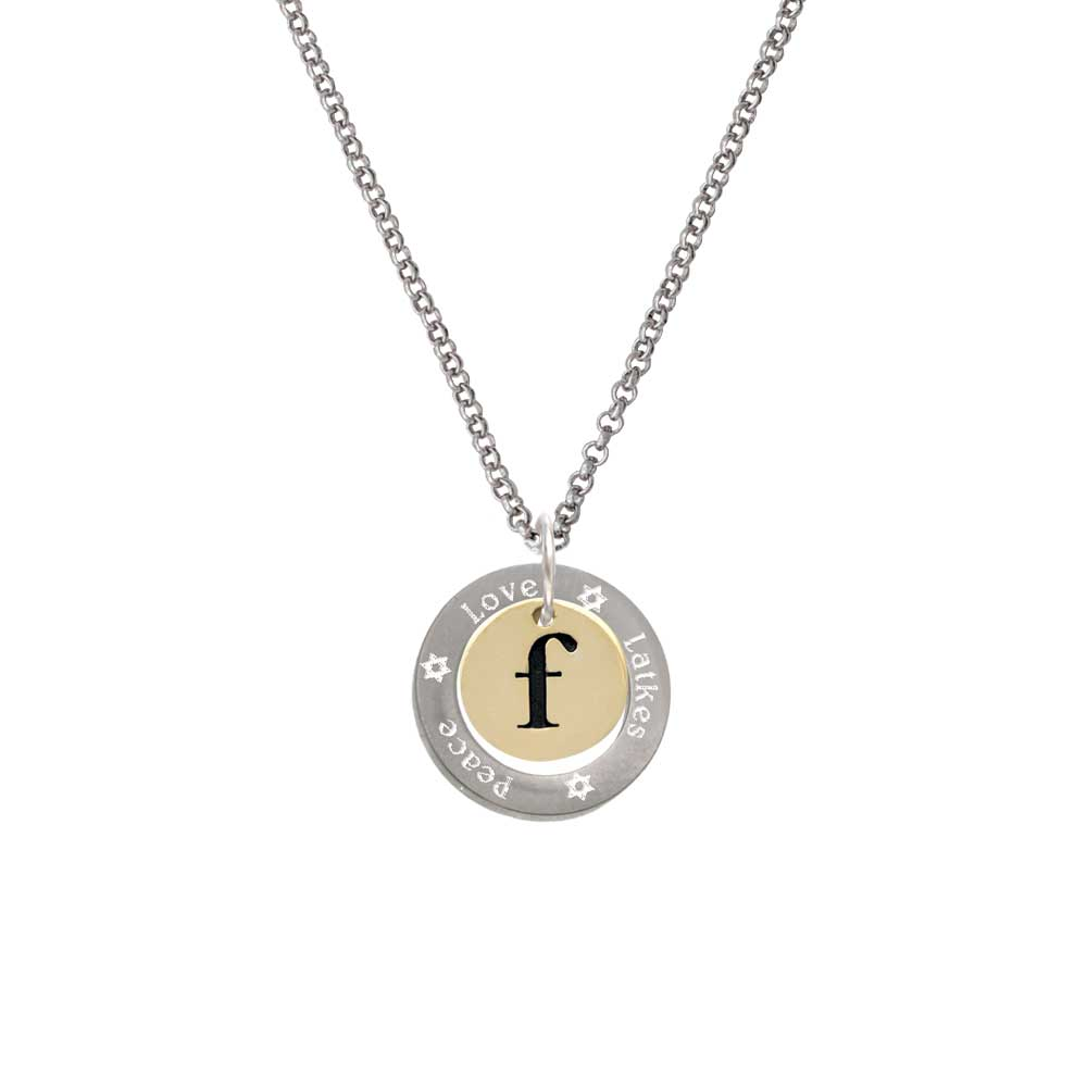 Goldtone Disc 1/2'' Initial - f - Peace Love Latkes Affirmation Ring Necklace