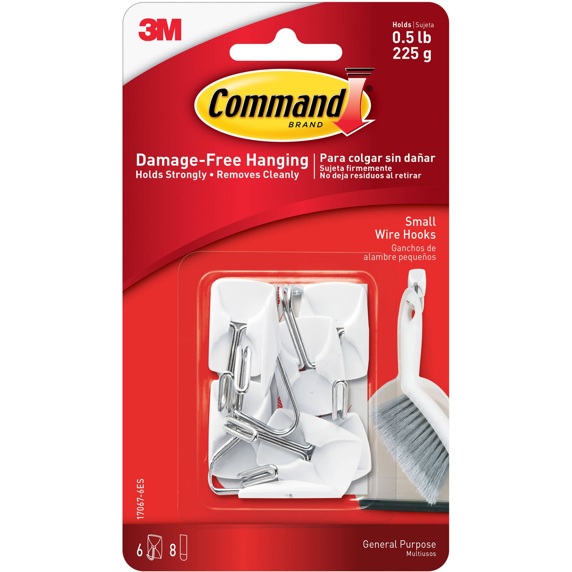 Command Wire Hooks, White, Small, 6 Hooks, 8 Strips/Pack