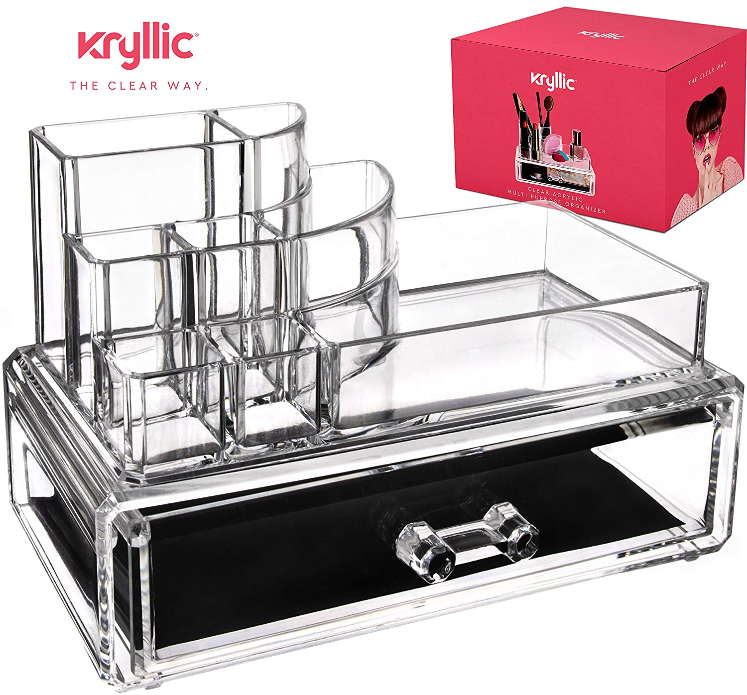 Acrylic Makeup jewelry cosmetic organizer - 2 Piece Set 1 Deep Drawer That Maneuver Smoothly With Separate Stackable lipstick & Nailpolish Holder Made With the Strong Thick Acrylic
