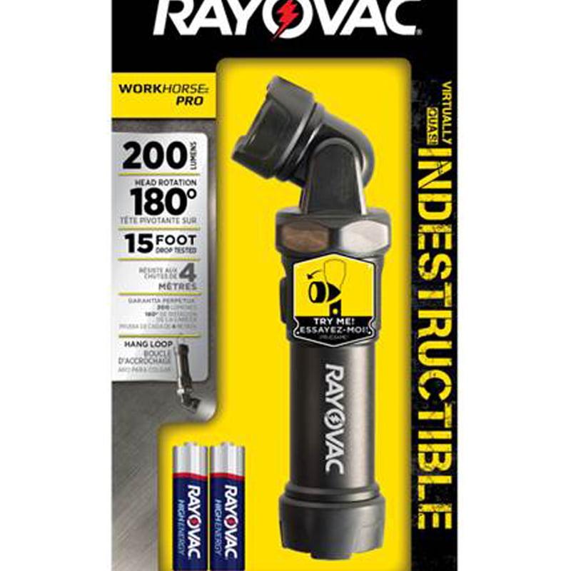 Rayovac DIYSL4AA-B Workhorse Pro LED Flashlight, Black, 200 Lumens