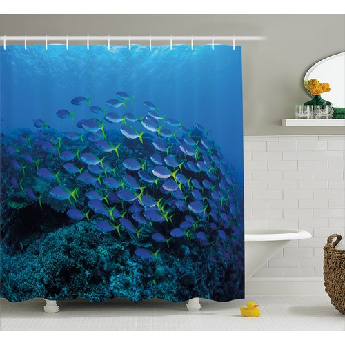 East Urban Home Shoal of Fish Decor Shower Curtain