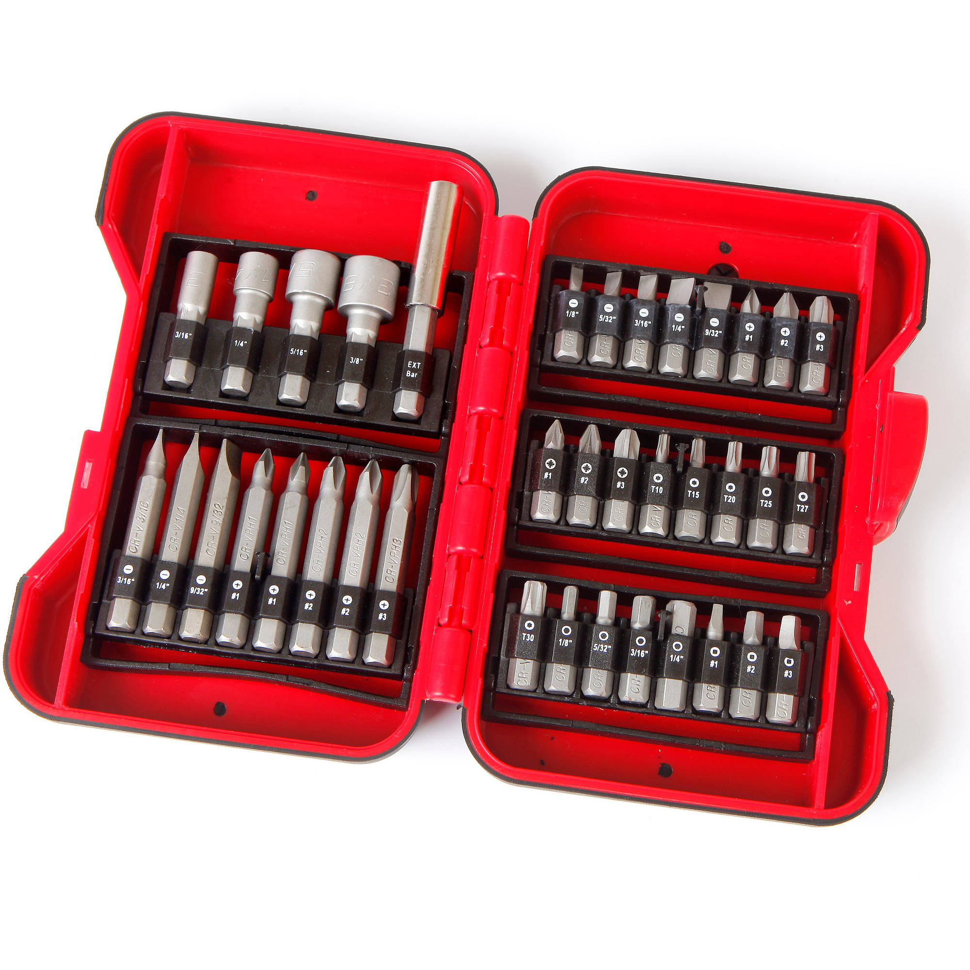 Hyper Tough 37-Piece Screwdriver Bit And Nut Set, Heat-Treated Steel