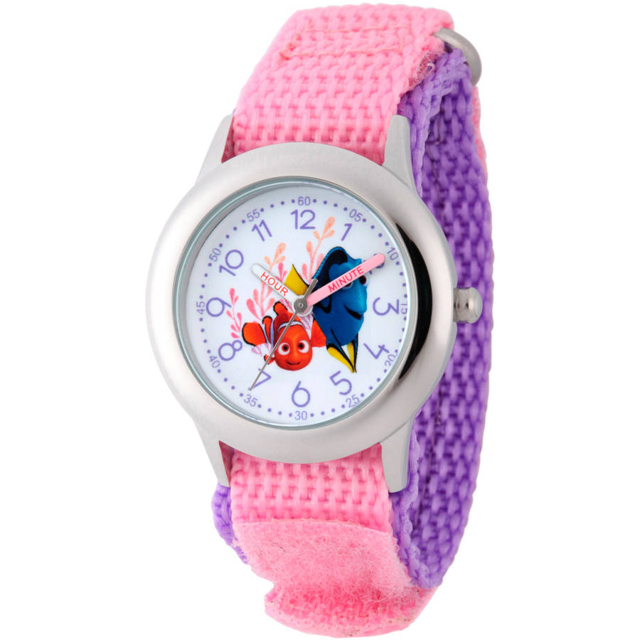 Disney Finding Dory Girls' Stainless Steel Time Teacher Watch, Pink Hook and Loop Nylon Strap with Purple Backing