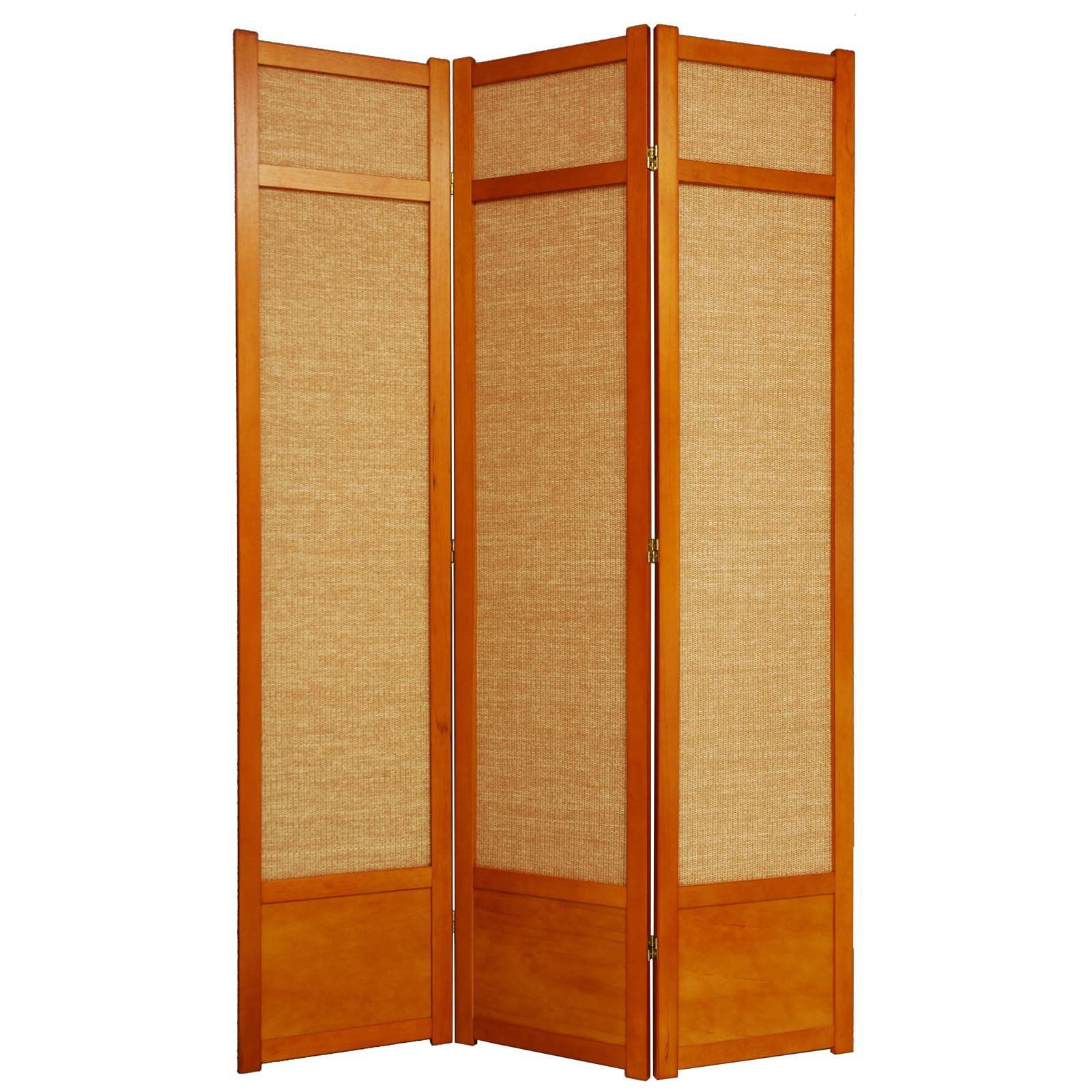 Oriental Furniture Jute Fiber Shoji Screen Room Divider-8...