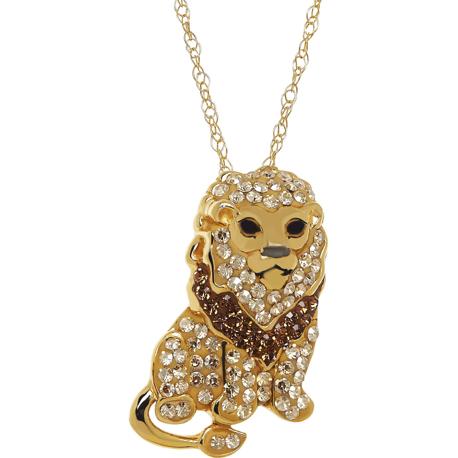 Animal Planet™ Lion Pendant made with Swarovski Elements in Gold-Plated Sterling Silver, 18""