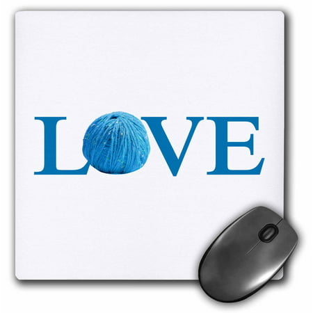 3Drose Love Knitting   Blue Text With Ball Of Yarn Wool   Knit Knitter Fan  Mouse Pad  8 By 8 Inches