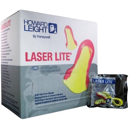 Howard Leight Laser Lite Disposable Ear Plug w/ Cord (NRR 32 dB) 100 Pairs MS-92265