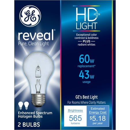 General Electric Reveal Clear Bulb 60w 2 Ct