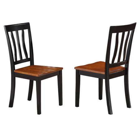 East West Furniture Antique Dining Chair with Wooden Seat - Set of 2 ()