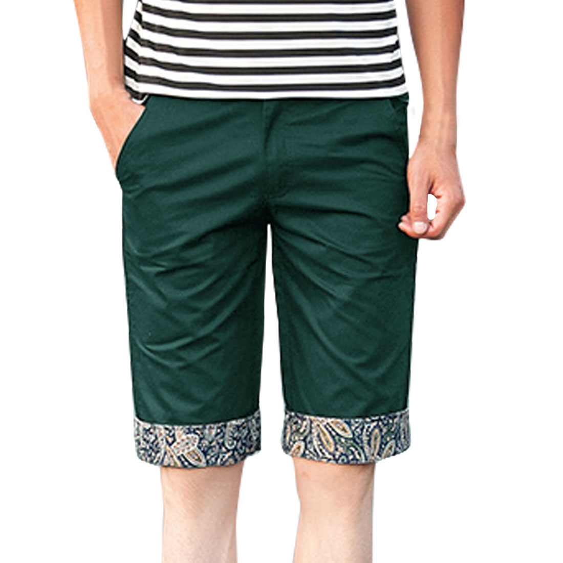 Azzuro Men's Paisleys Pattern Rolled Cuffs Straight Leg Shorts Green (Size M / W32)