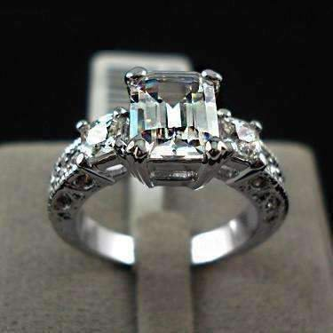 Marquise Cut Emerald (ON SALE - Timeless Three Stone Emerald Cut Swiss CZ Diamond Engagement Ring with Princess Accents - Ring)