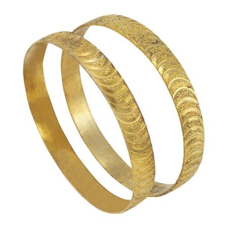 Scalloped Gold Tone Bangle Bracelet Sparkle Cut Set Of 2