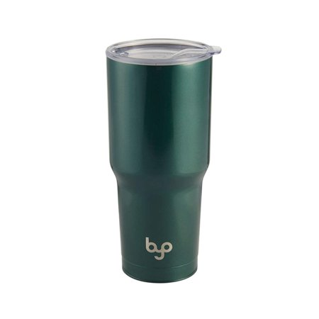 BYO Double Wall Stainless Steel Vacuum Insulated Tumbler With Spill Proof Durable Tritan Lid for Hot & Cold Drinks 30 Oz - Metallic
