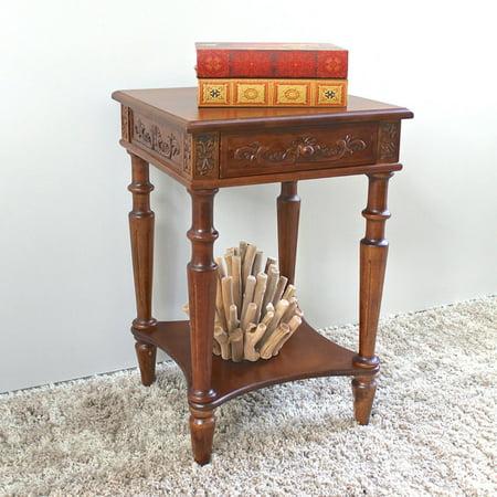 Table Hand Carved 5 Drawer - International Caravan Windsor Hand Carved 1 Drawer Walnut Stain Decorative End Table