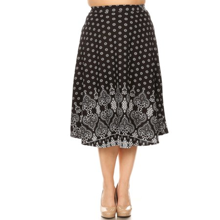 Women's Plus Size Border Pattern Skirt