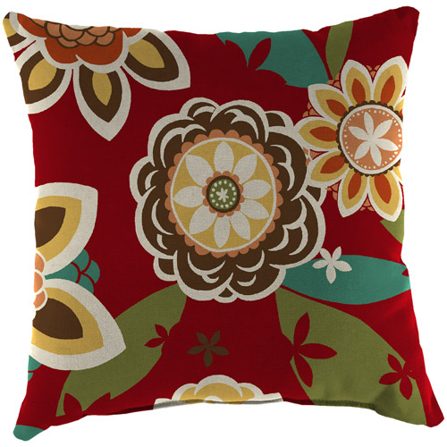 Jordan Manufacturing Indoor/Outdoor Patio Square Toss Pillow, Annie Cherry