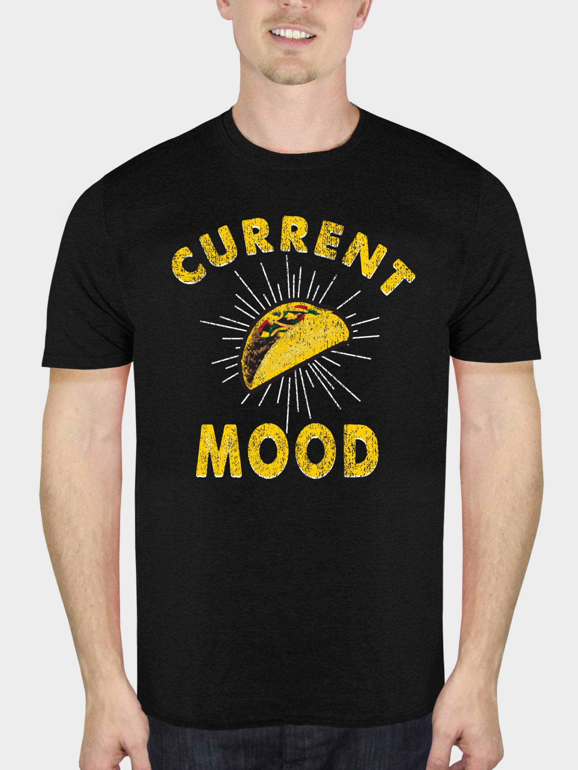 Taco Mood Funny Attitude Men's Black Graphic T-Shirt, up to Size 5XL