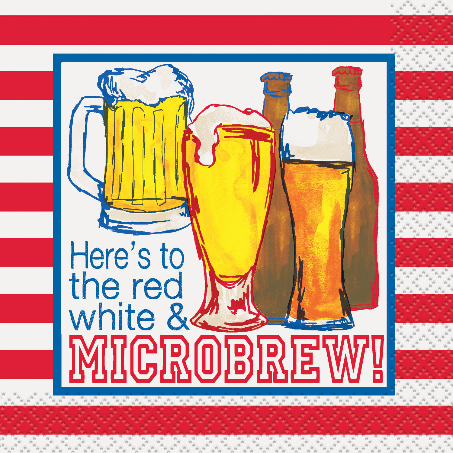 Red, White, and Microbrew Patriotic Cocktail Napkins, 16ct