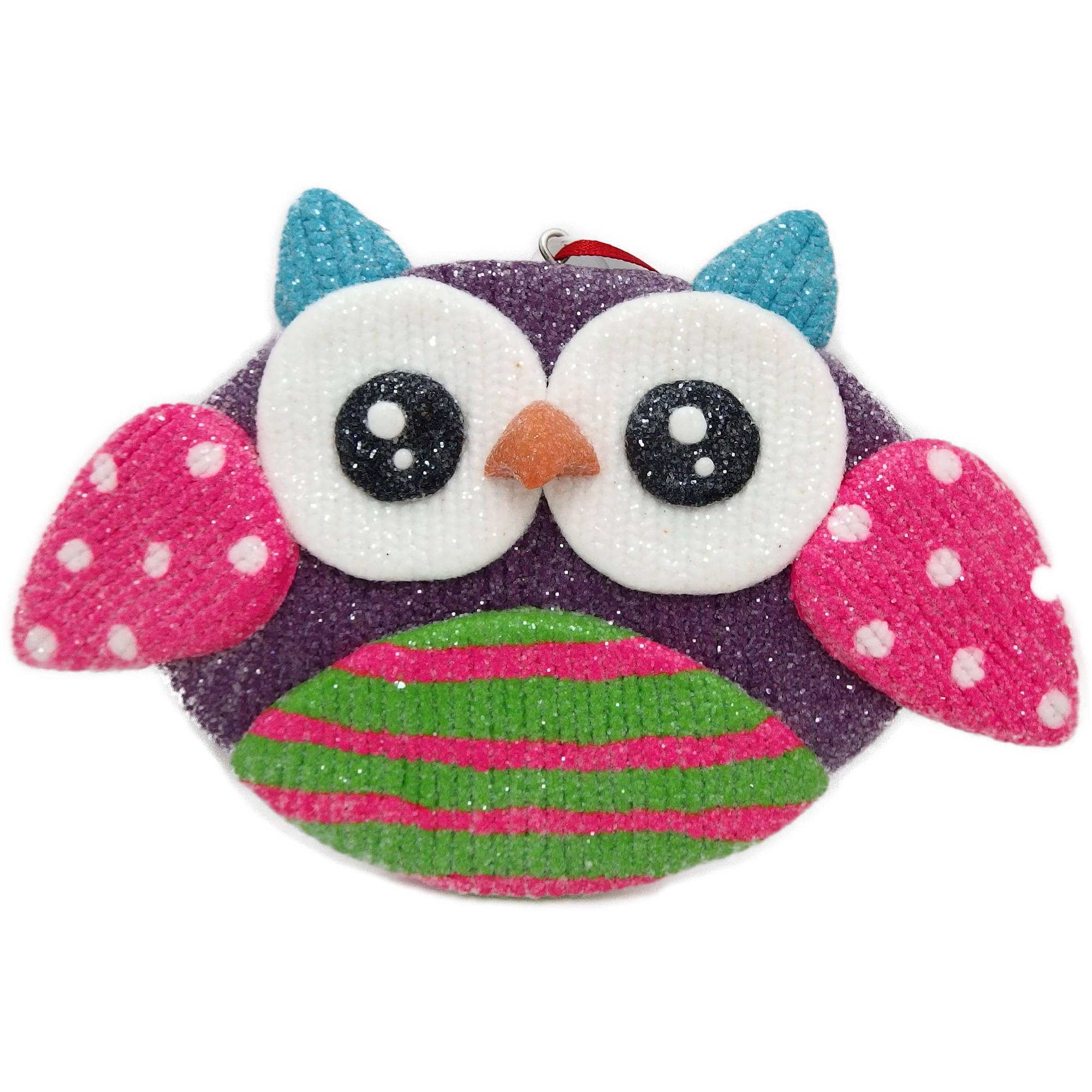 Holiday Time Christmas Ornaments 6-Piece Glitter Claydough Owl Ornament