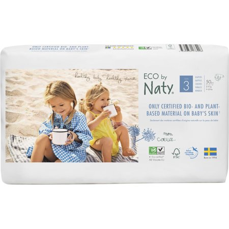 Eco by Naty Premium Disposable Diapers for Sensitive Skin, Size 3, 2 packs of 50 (100 Diapers) (Chlorine and perfume